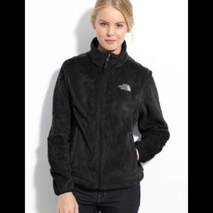 North Face black furry zip up jacket